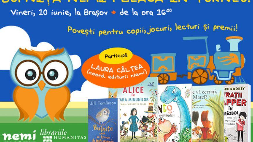 Bufniţa Nemi se întâlnește cu micii cititori din Brașov, vineri, la librăria Humanitas!